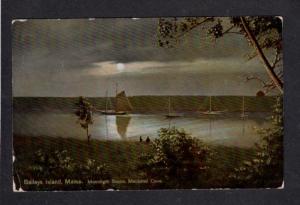 ME Moonlight Baileys Island Mackerel Cove Vintage Postcard Sailboats Ships Boats