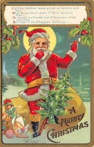 Santa Claus Post Card Old Vintage Antique Christmas Postcard Postal Used Unknown