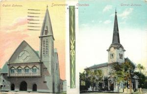 Sacramento CA Art Nouveau Churches: English and German Lutheran~c1914 Postcard