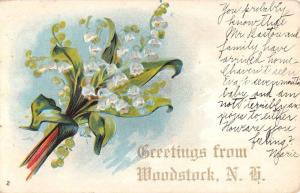 Woodstock New Hampshire Flower Greeting Antique Postcard K101155