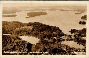 Cable Wisconsin~Birdseye Namakagon Lake~Lake Woods Resort~1940s RPPC