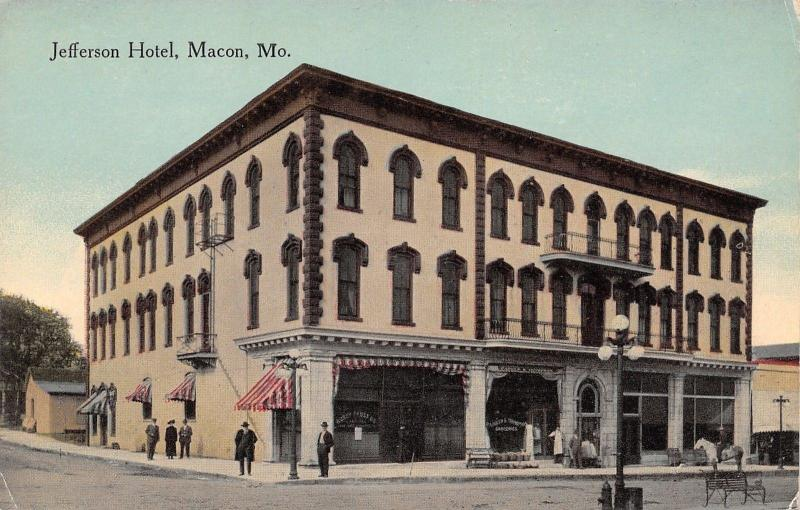 Macon Mo Jefferson Hotel Parker Thompson Groceries Keeper Outside 1908