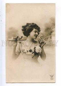 243805 Nymph DANCER Vaudeville ACTRESS Kiss BIRD Vintage PHOTO