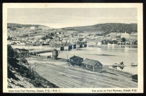 dc319 - GASPE Quebec Postcard 1936 View from Fort Ramsey by Henderson