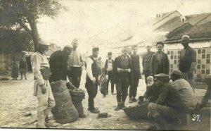 macedonia, Serbian Market Place (1921) RPPC Postcard