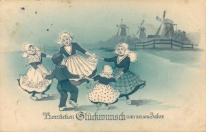 Happy New Year - German Costume Kids with Mills 03.37