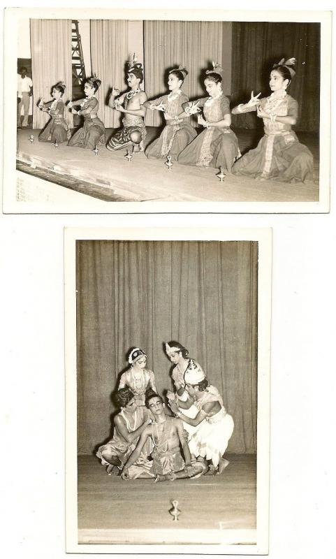Malaya Penang Ramayana performance vintage RP real photo plain back postcards x4