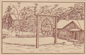 Sketch, Malone's Water Wheel Antique Shop, Geneseo Road, AVON, New York, 10-20s