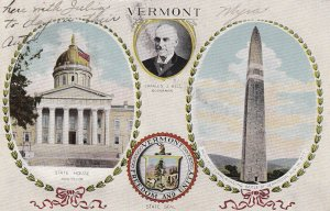VERMONT, PU-1912; State House Montpelier, Monument, State Seal, Charles J Bell