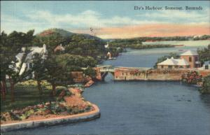 Somerset Bermuda Ely's Harbor Used Linen Postcard