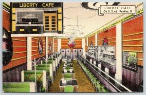 Pontiac IL~Liberty Cafe Interior~Route 66 Roadside Diner~Art Deco~1940 Linen