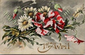 Postcard Tinted FLOWERS 1er Avril April 1st - French - VINTAGE