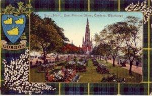 SCOTLAND. SCOTT MONT., EAST PRINCES STREET GARDENS EDINBURGH Gordon plaid