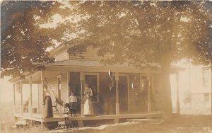 G45/ Mayville New York RPPC Postcard c1910 Cottage Porch Family