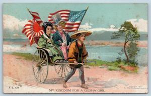 Postcard Patriotic My Kingdom For a Geisha Girl Boy Uncle Sam Japan USA Flag K21
