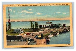 Vintage 1930's Linen Postcard Newport News & Norfolk Ferry Pier WGH Station