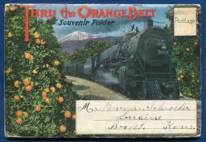 Thru the Orange Belt steam locomotive groves California travel postcard folder
