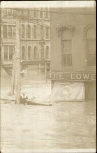 Dayton OH Flood Lowe Brothers Sign c1910 Unidentified Real Photo Postcard