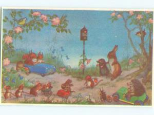 Pre-1980 Molly Brett signed HUMANIZED FOREST CREATURES AT TRAFFIC LIGHT AC7122