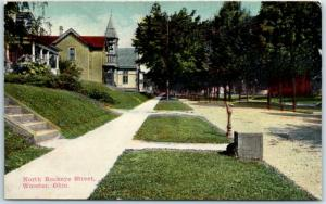 Wooster, Ohio Postcard North Buckeye Street Residential Scene / Houses 1913