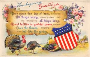 Patriotic Thanksgiving~Calligraphy Scroll~Flag Shield~Grateful Praise~Embossed