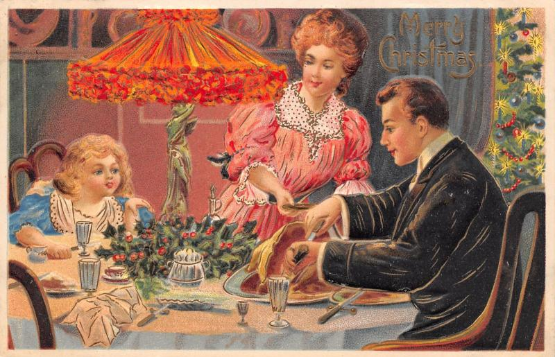 Victorian Christmas~Family at Decorated Dinner Table~Candle Tree~Emboss~Germany