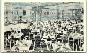 Chicago IL Postcard TWENTIETH CENTURY CAFÉ Restaurant at W. State & Adams c1919