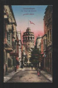 076915 CONSTANTINOPLE Galata tower w/ flag Vintage PC
