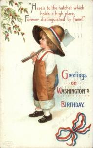 George Washington Birthday Little Boy w/ Axe - Ellen Clapsaddle Postcard