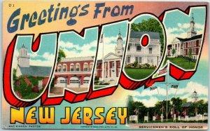 Vintage UNION New Jersey Large Letter Postcard ART TONE Linen c1950s Unused