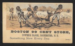VICTORIAN TRADE CARD Boston 99 Cent Store Black Men & Donkey 'Oh Git'