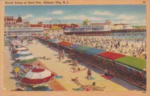 New Jersey Atlantic City Beach Scene At Steel Pier