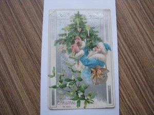 Vintage Antique Postcard Santa Blue Robe 1906 or 1908 Postmark UDB Undivided Bac