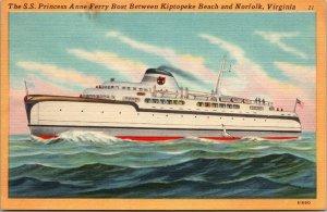 SS Princess Anne Ferry bet Cape Charles VA Norfolk VA Kaufmann pc  postcard