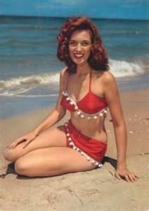 risque pinup lovely redhair model semi-modern postcard