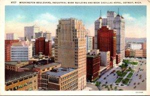 Michigan Detroit Industrial Bank Building and Book Cadillac Hotel Washington ...
