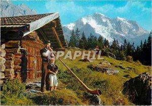 Modern Postcard Wengen Player Alphorn and his Son Au Fond The Jungfrau (4166 ...