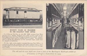 70 Years Of Progress Burlington Railway Post Office Century Of Progress Expo ...