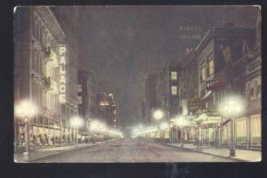 MINNEAPOLIS MINNESOTA DOWNTOWN MAIN STREET SCENE AT NIGHT OLD POSTCARD
