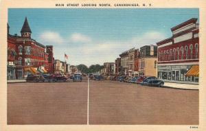 Canadaigua New York~Main Street~Looking North~Shops~Business~1940s Cars~Postcard