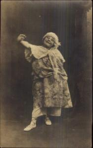 Little Girl Dressed as Adult in Silly Pose Smiling Real Photo Postcard c1910