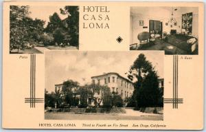 San Diego, California Postcard HOTEL CASA LOMA Street & Room View 1943 Cancel