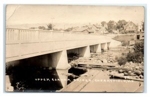 Postcard Upper Corner Bridge, Cherryfield ME Maine 1929 RPPC L42