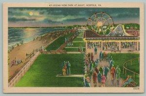 Norfolk Virginia~Ocean View Park @ Night~Ferris Wheel~Moon Between Clouds~1940s