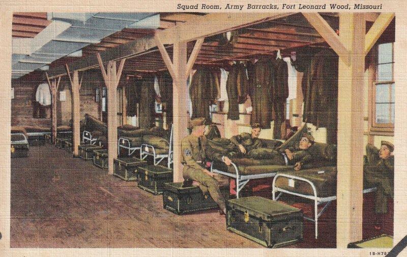 FORT LEONARD WOOD, Missouri, 1930-1940s; Squad Room, Army Barracks