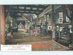 Divided-Back HOME OF ARTIST PAUL DE LONGPRE Hollywood - Los Angeles CA d1265