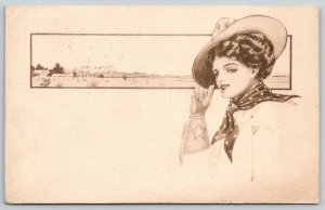 C Ryan~Lovely Lady Cowgirl~Cowboy Hat~Gloves & Scarf~Cactus & Mesa~1908 Sepia