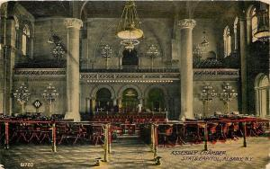 Albany New York~Assembly Chamber at State Capitol~Chandelier 1913 Postcard
