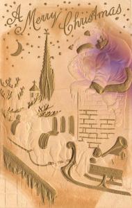 Christmas~Santa & Reindeer Sleigh on Rooftop~Gold Purple Airbrushed~Emboss 1909