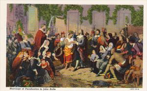 Marriage Of Pocahontas To John Rolfe in Jamestown Church 1614 Curteich